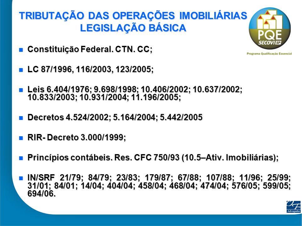 TRIBUTAÇÃO DAS OPERAÇÕES IMOBILIÁRIAS LEGISLAÇÃO BÁSICA
