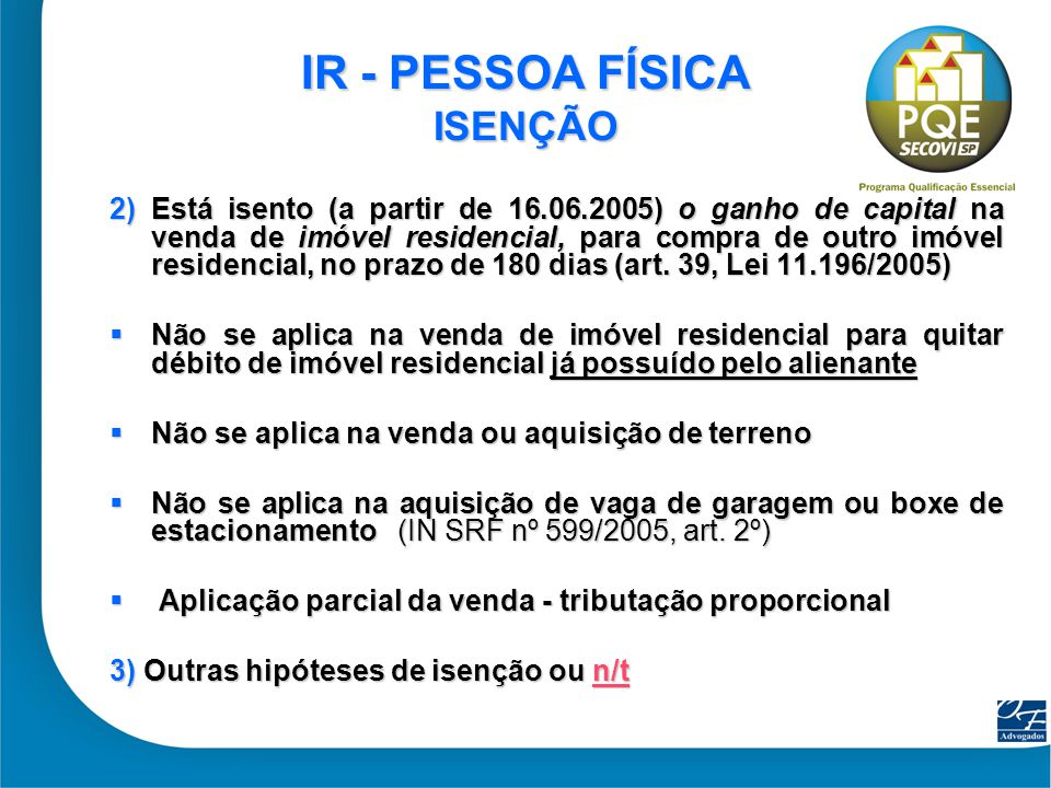 IR - PESSOA FÍSICA ISENÇÃO