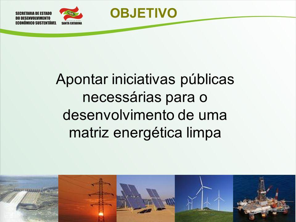 OBJETIVO Apontar iniciativas públicas necessárias para o desenvolvimento de uma matriz energética limpa.