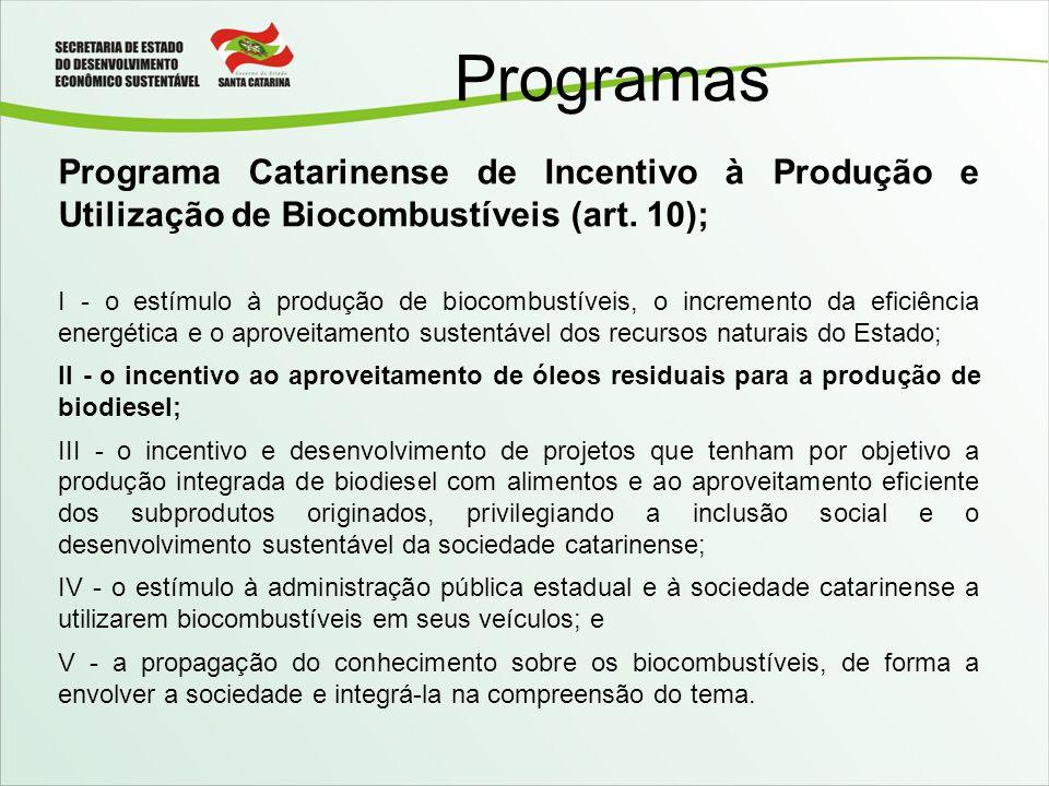 Programas Programa Catarinense de Incentivo à Produção e Utilização de Biocombustíveis (art. 10);