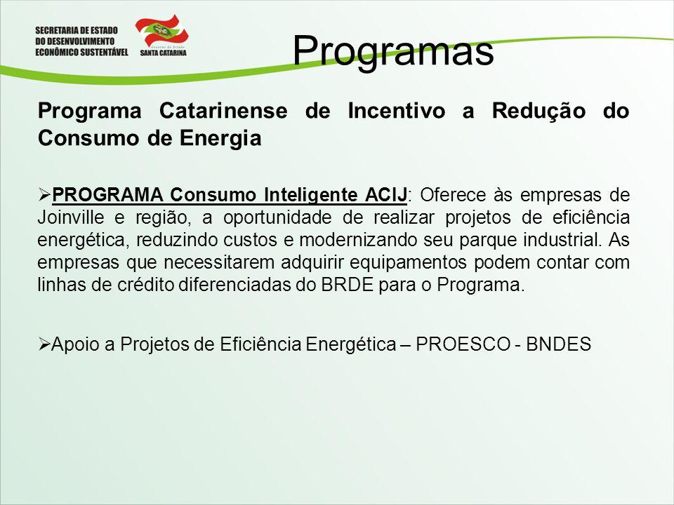 Programas Programa Catarinense de Incentivo a Redução do Consumo de Energia.