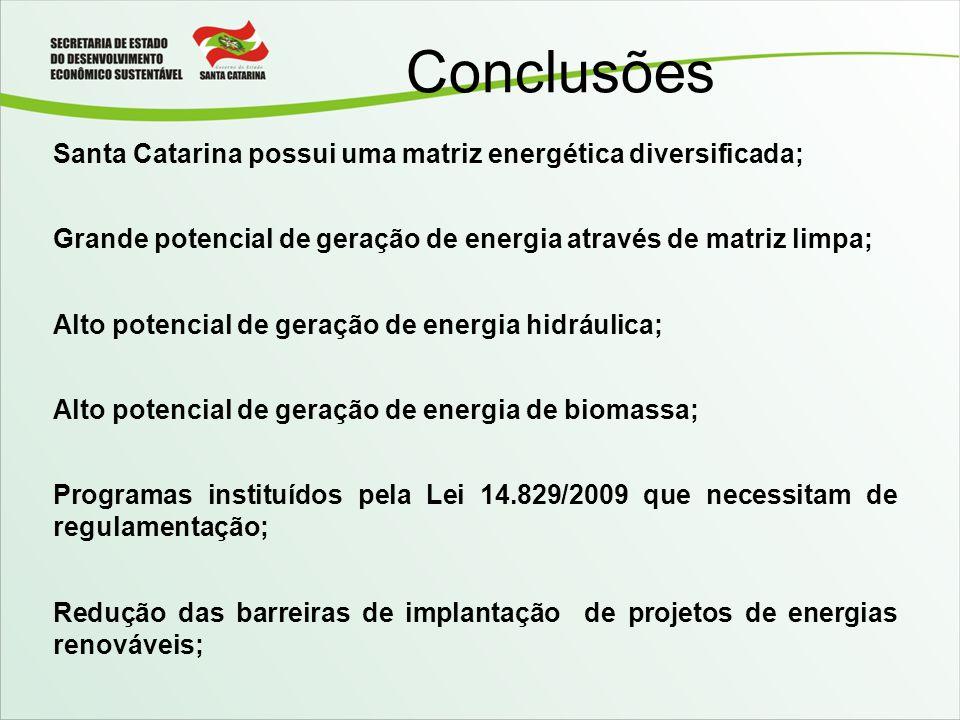 Conclusões Santa Catarina possui uma matriz energética diversificada;
