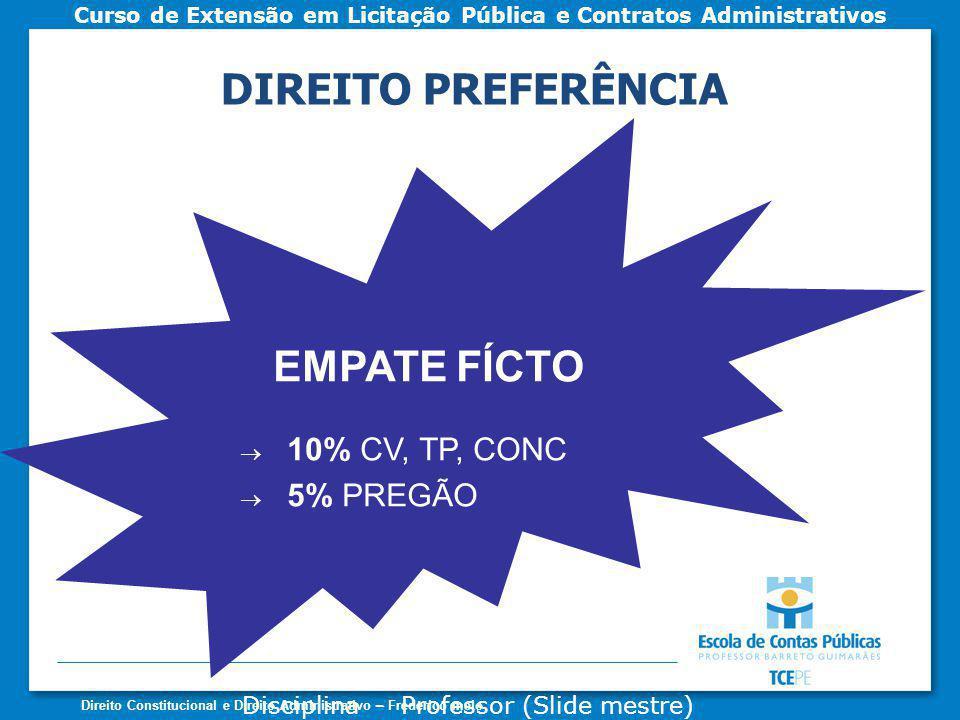 DIREITO PREFERÊNCIA EMPATE FÍCTO 10% CV, TP, CONC 5% PREGÃO