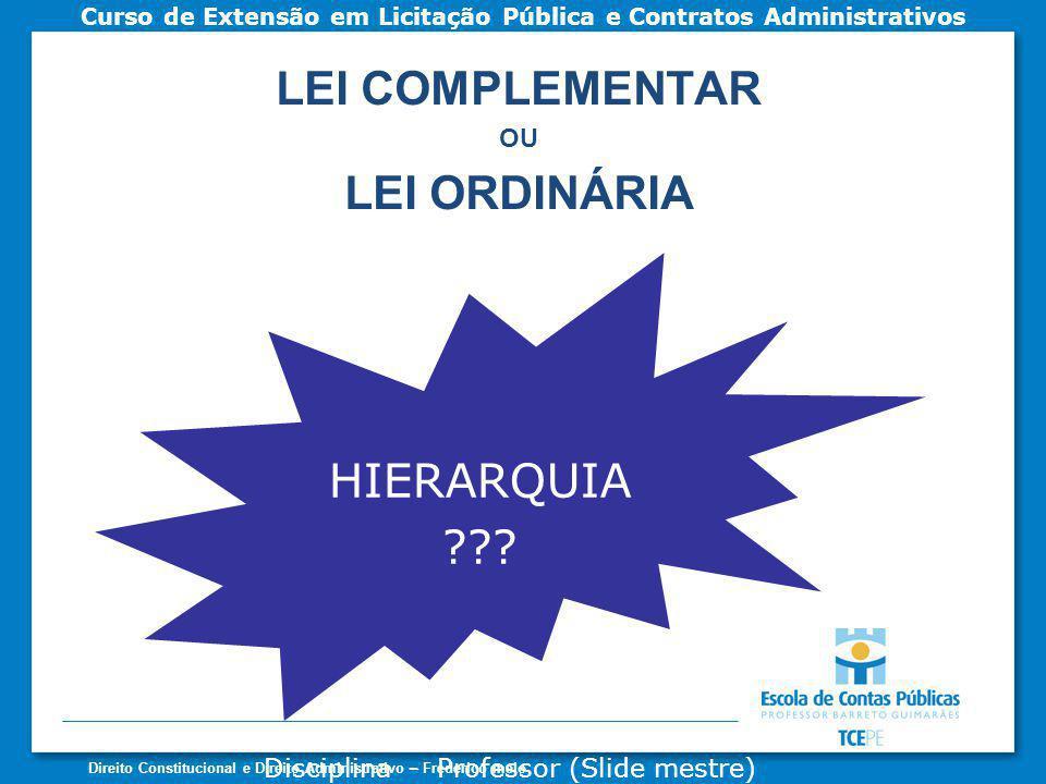 LEI COMPLEMENTAR LEI ORDINÁRIA