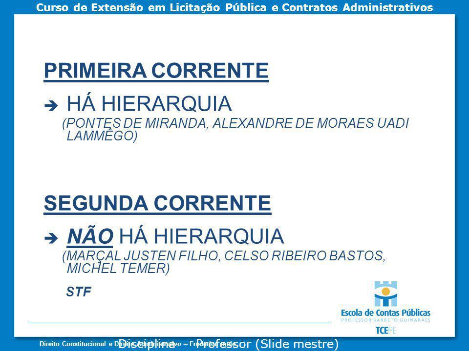 PRIMEIRA CORRENTE HÁ HIERARQUIA SEGUNDA CORRENTE NÃO HÁ HIERARQUIA