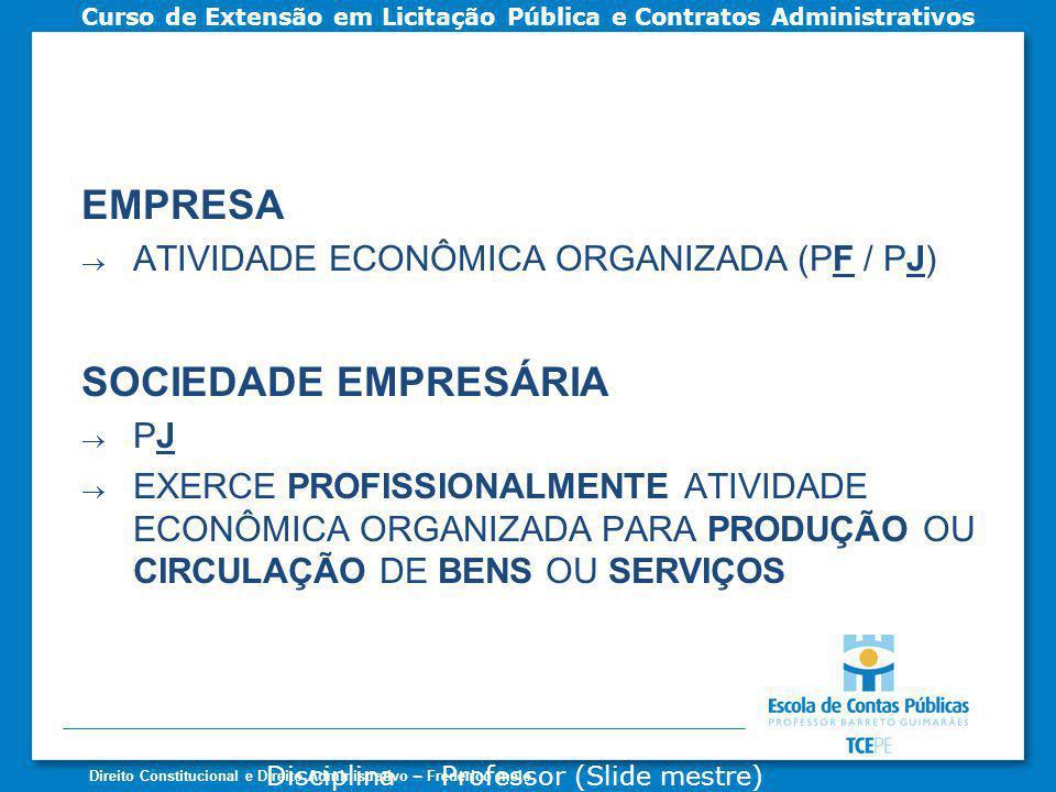 EMPRESA SOCIEDADE EMPRESÁRIA ATIVIDADE ECONÔMICA ORGANIZADA (PF / PJ)