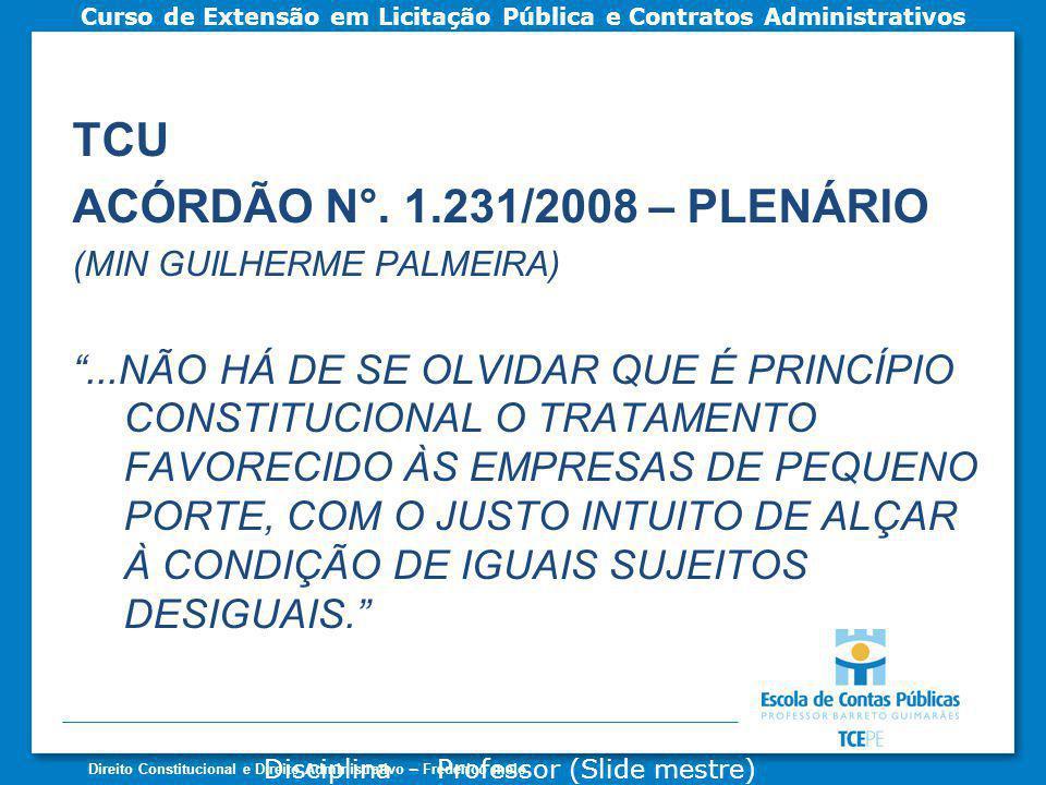 TCU ACÓRDÃO N°. 1.231/2008 – PLENÁRIO