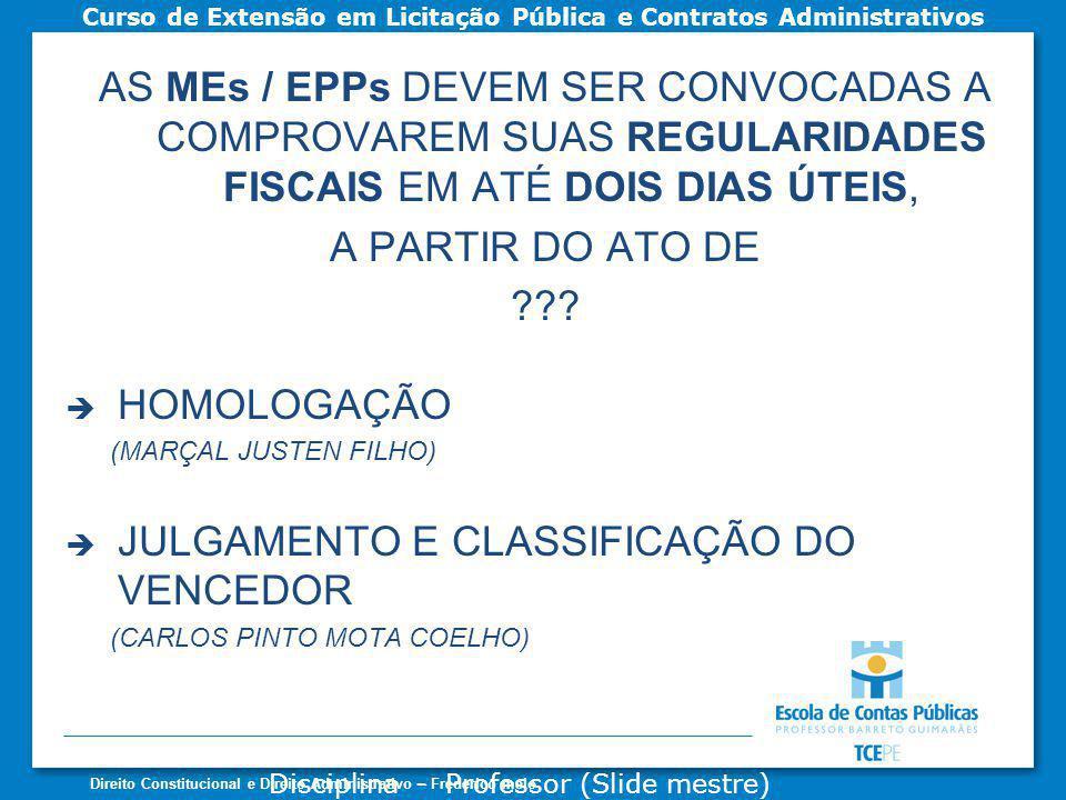 JULGAMENTO E CLASSIFICAÇÃO DO VENCEDOR