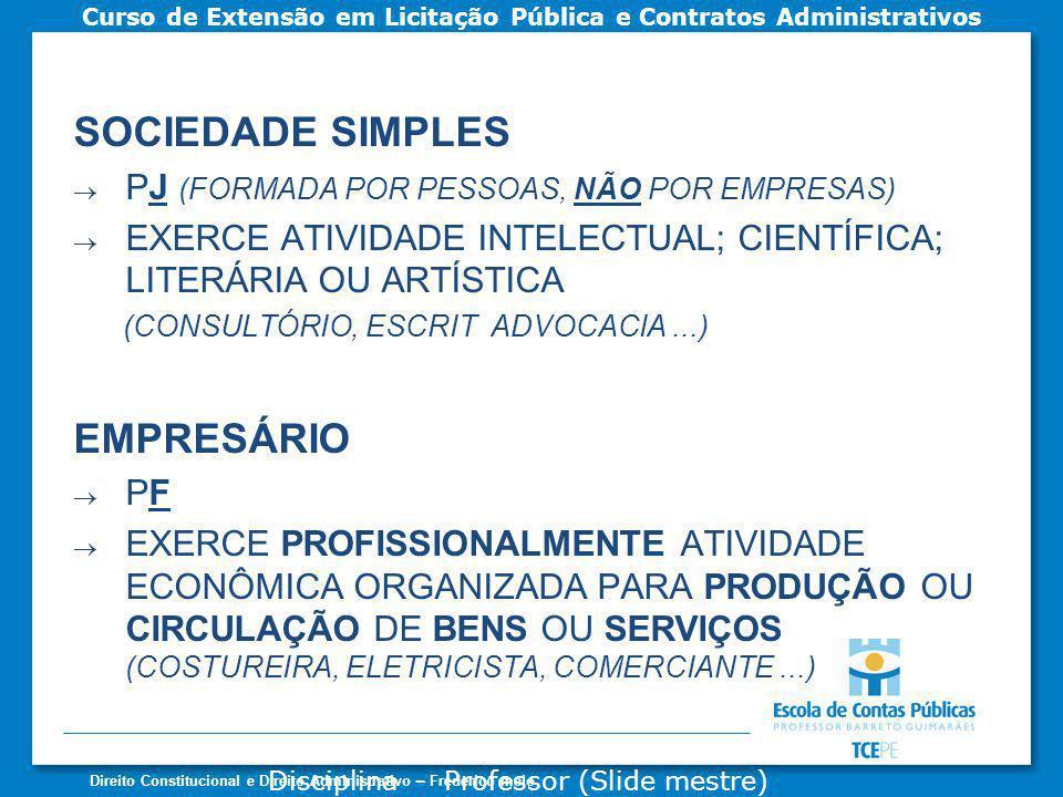 SOCIEDADE SIMPLES EMPRESÁRIO