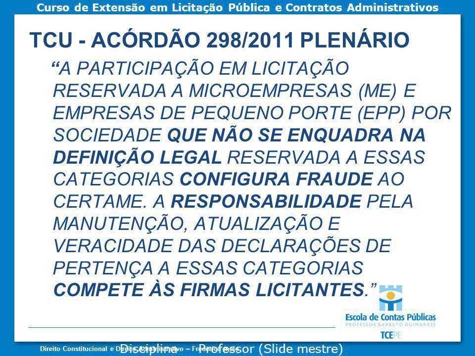 TCU - ACÓRDÃO 298/2011 PLENÁRIO