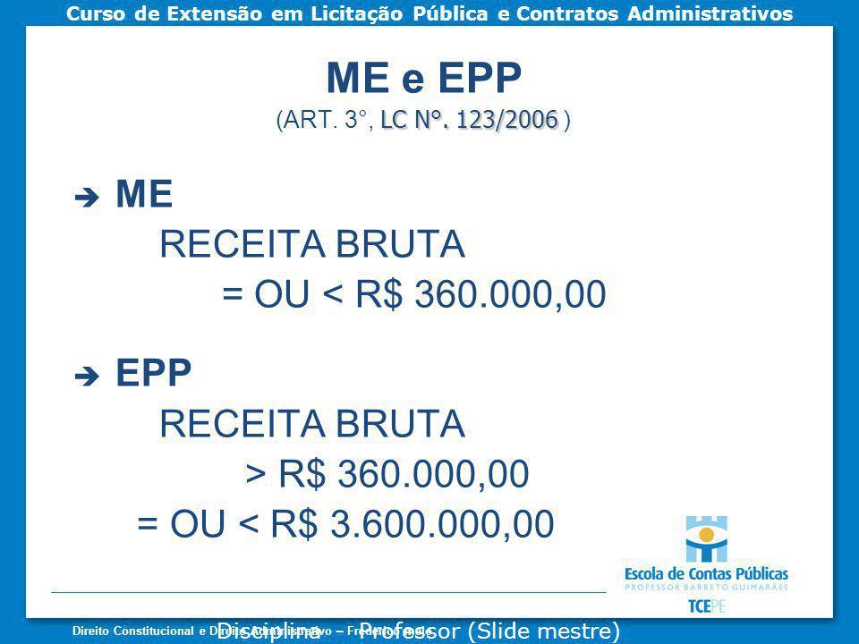 ME e EPP ME RECEITA BRUTA = OU < R$ 360.000,00 EPP