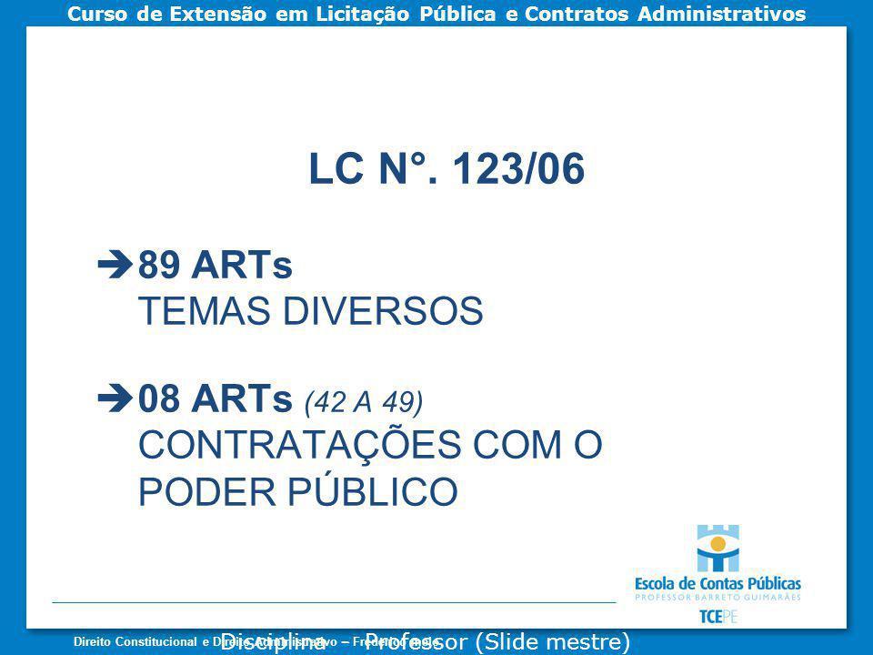 LC N°. 123/06 89 ARTs TEMAS DIVERSOS 08 ARTs (42 A 49)