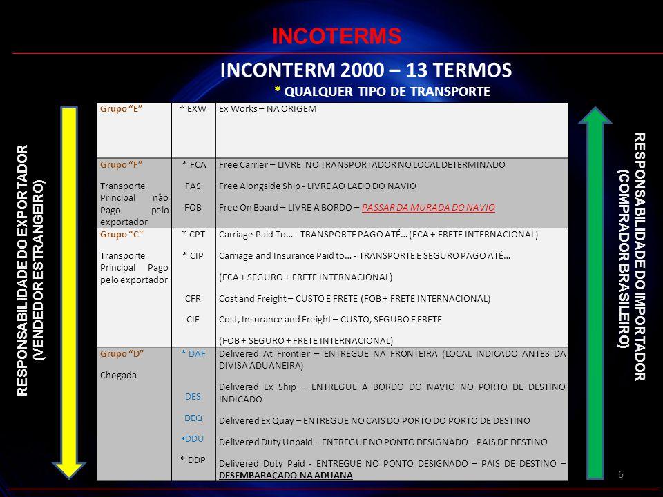 INCOTERMS INCONTERM 2000 – 13 TERMOS * QUALQUER TIPO DE TRANSPORTE