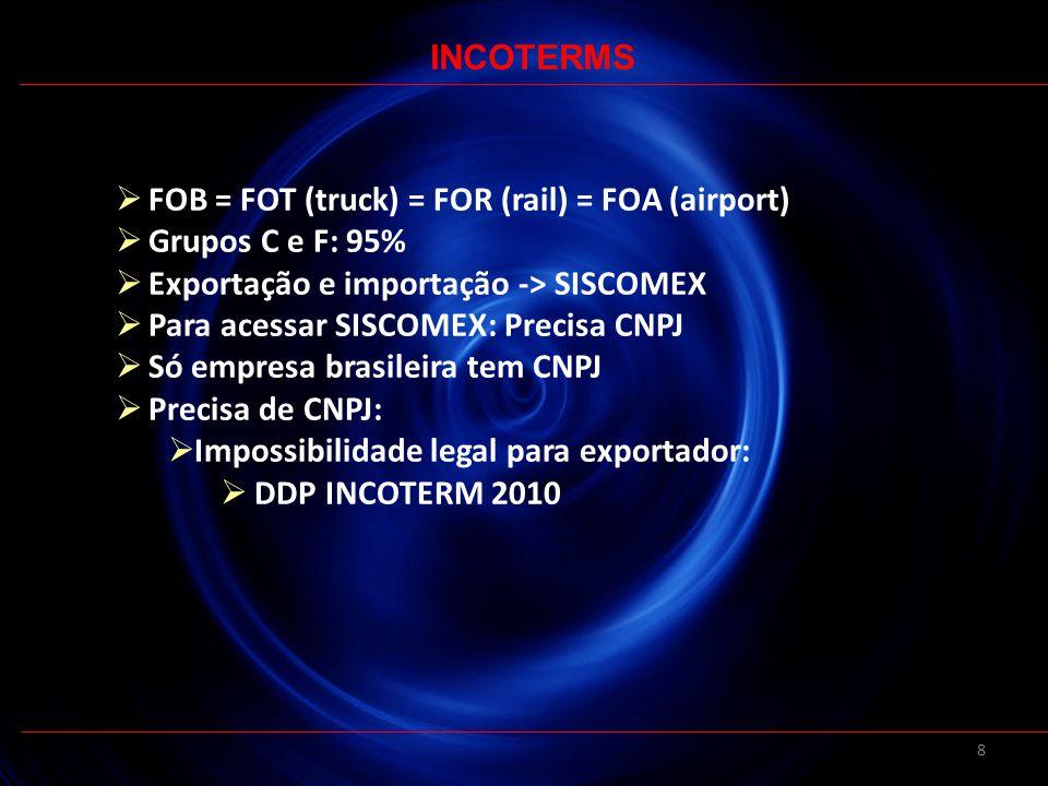 INCOTERMS FOB = FOT (truck) = FOR (rail) = FOA (airport) Grupos C e F: 95% Exportação e importação -> SISCOMEX.