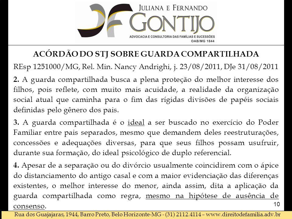 ACÓRDÃO DO STJ SOBRE GUARDA COMPARTILHADA