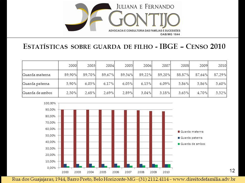 Estatísticas sobre guarda de filho - IBGE – Censo 2010