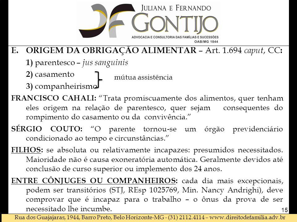 ORIGEM DA OBRIGAÇÃO ALIMENTAR – Art. 1.694 caput, CC: