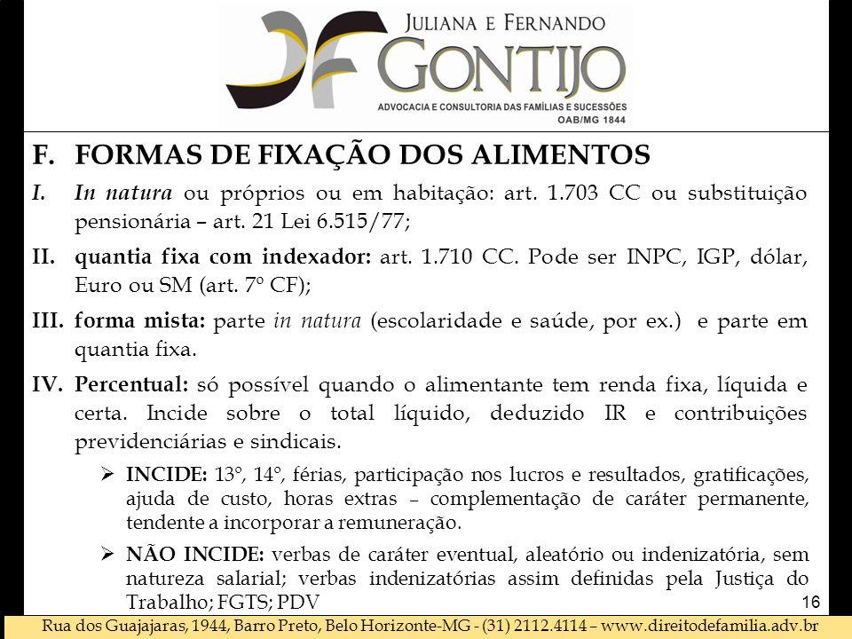 FORMAS DE FIXAÇÃO DOS ALIMENTOS