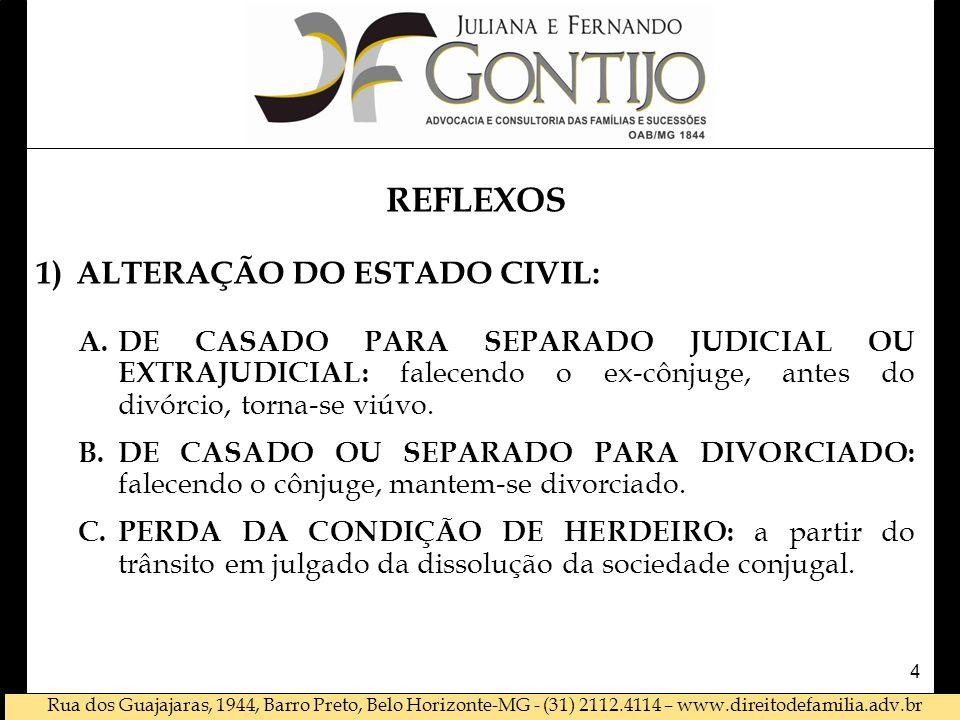 REFLEXOS ALTERAÇÃO DO ESTADO CIVIL: