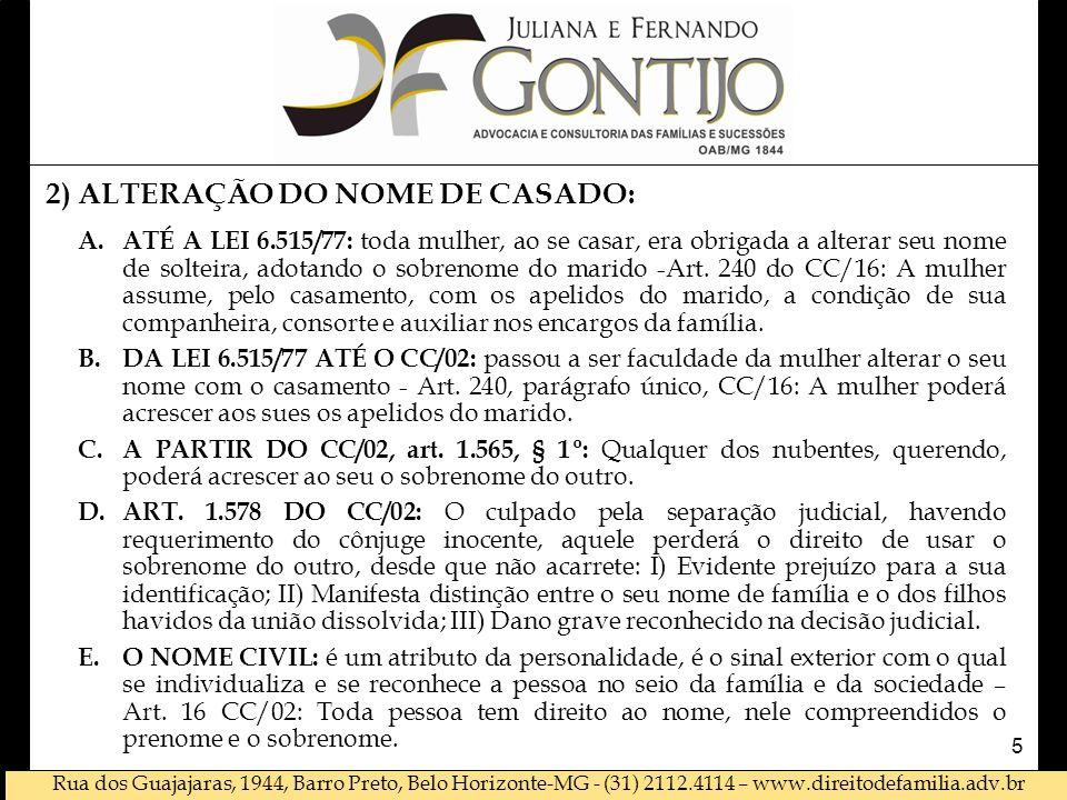 2) ALTERAÇÃO DO NOME DE CASADO: