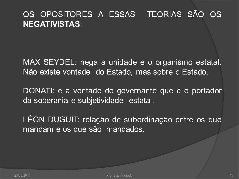 OS OPOSITORES A ESSAS TEORIAS SÃO OS NEGATIVISTAS: