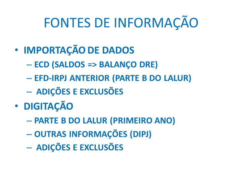 FONTES DE INFORMAÇÃO IMPORTAÇÃO DE DADOS DIGITAÇÃO