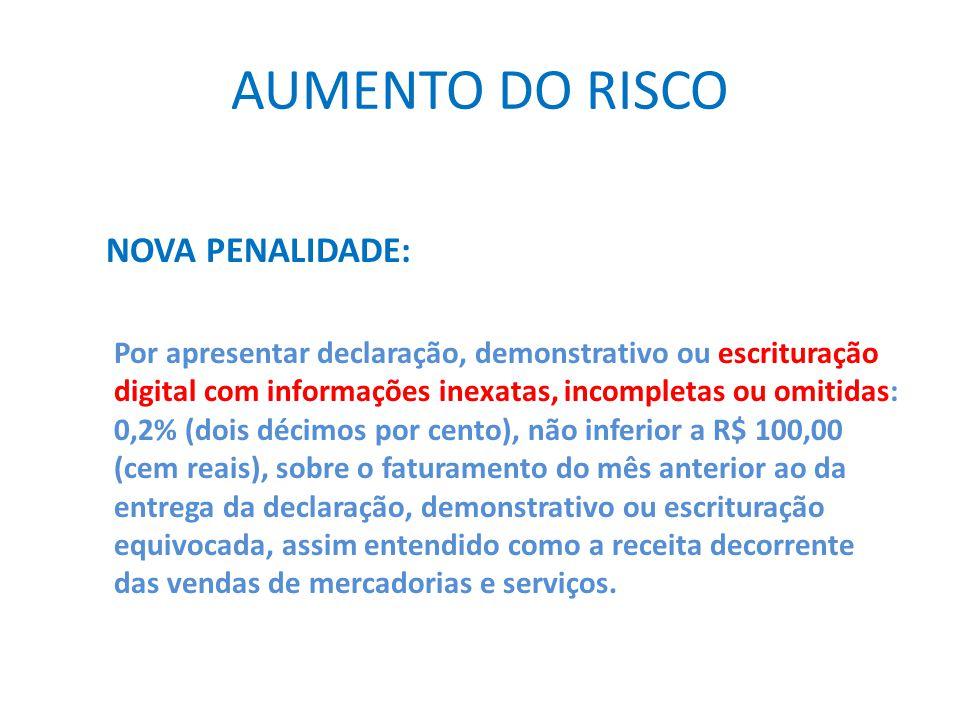 AUMENTO DO RISCO NOVA PENALIDADE:
