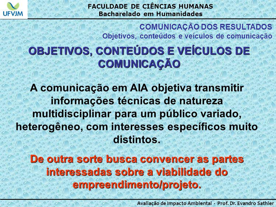 OBJETIVOS, CONTEÚDOS E VEÍCULOS DE COMUNICAÇÃO