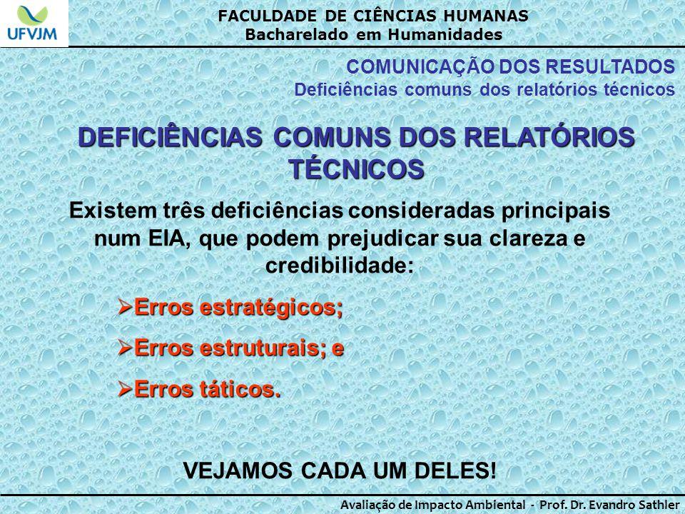 DEFICIÊNCIAS COMUNS DOS RELATÓRIOS TÉCNICOS