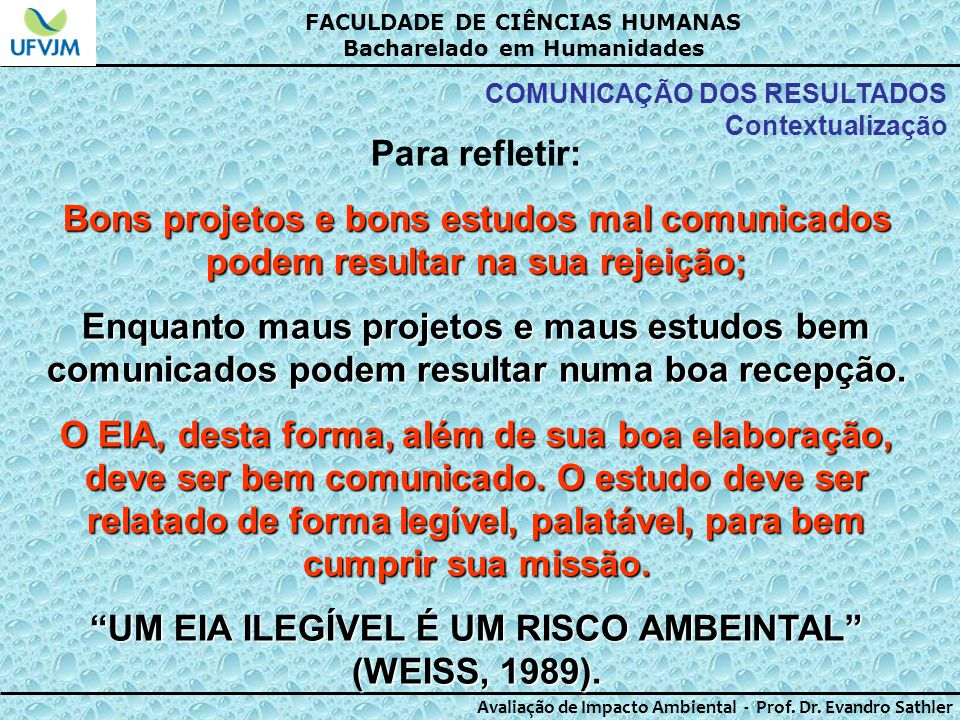 UM EIA ILEGÍVEL É UM RISCO AMBEINTAL (WEISS, 1989).