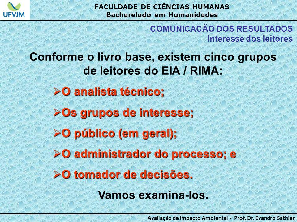 Conforme o livro base, existem cinco grupos de leitores do EIA / RIMA: