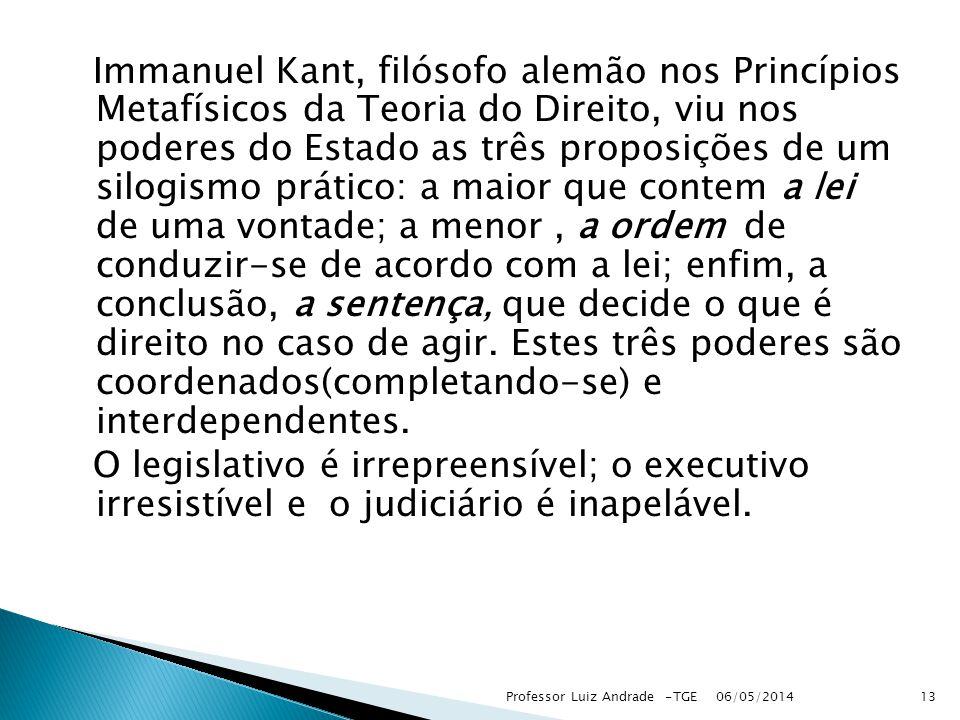 Immanuel Kant, filósofo alemão nos Princípios Metafísicos da Teoria do Direito, viu nos poderes do Estado as três proposições de um silogismo prático: a maior que contem a lei de uma vontade; a menor , a ordem de conduzir-se de acordo com a lei; enfim, a conclusão, a sentença, que decide o que é direito no caso de agir. Estes três poderes são coordenados(completando-se) e interdependentes.