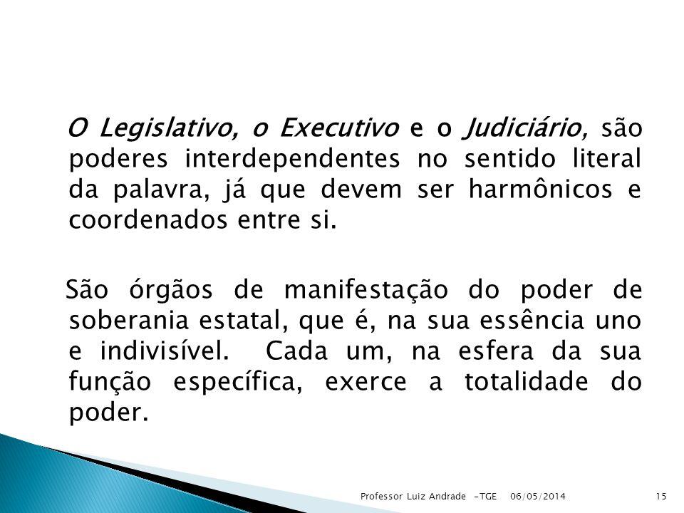 O Legislativo, o Executivo e o Judiciário, são poderes interdependentes no sentido literal da palavra, já que devem ser harmônicos e coordenados entre si.