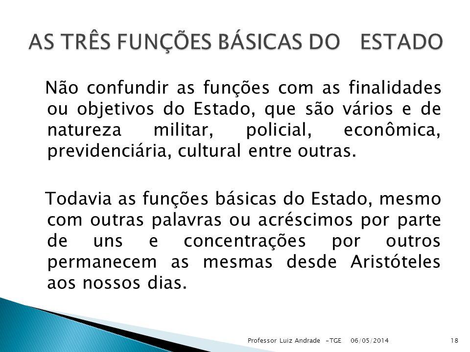 AS TRÊS FUNÇÕES BÁSICAS DO ESTADO