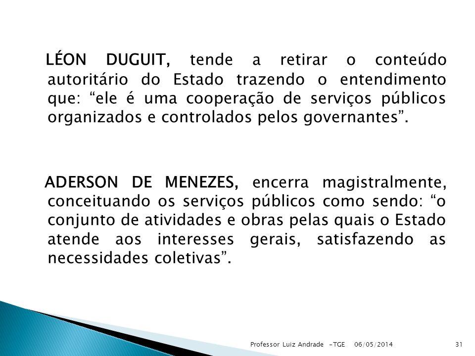 LÉON DUGUIT, tende a retirar o conteúdo autoritário do Estado trazendo o entendimento que: ele é uma cooperação de serviços públicos organizados e controlados pelos governantes .