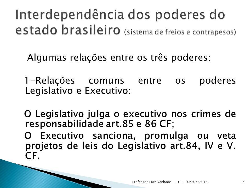 Interdependência dos poderes do estado brasileiro (sistema de freios e contrapesos)