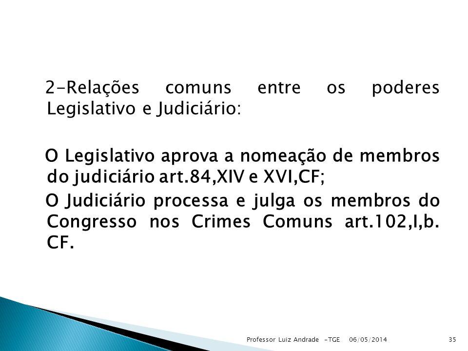 2-Relações comuns entre os poderes Legislativo e Judiciário: O Legislativo aprova a nomeação de membros do judiciário art.84,XIV e XVI,CF; O Judiciário processa e julga os membros do Congresso nos Crimes Comuns art.102,I,b. CF.