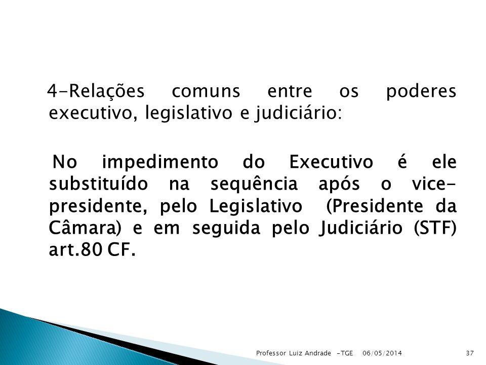 4-Relações comuns entre os poderes executivo, legislativo e judiciário: No impedimento do Executivo é ele substituído na sequência após o vice- presidente, pelo Legislativo (Presidente da Câmara) e em seguida pelo Judiciário (STF) art.80 CF.