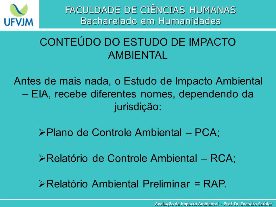CONTEÚDO DO ESTUDO DE IMPACTO AMBIENTAL