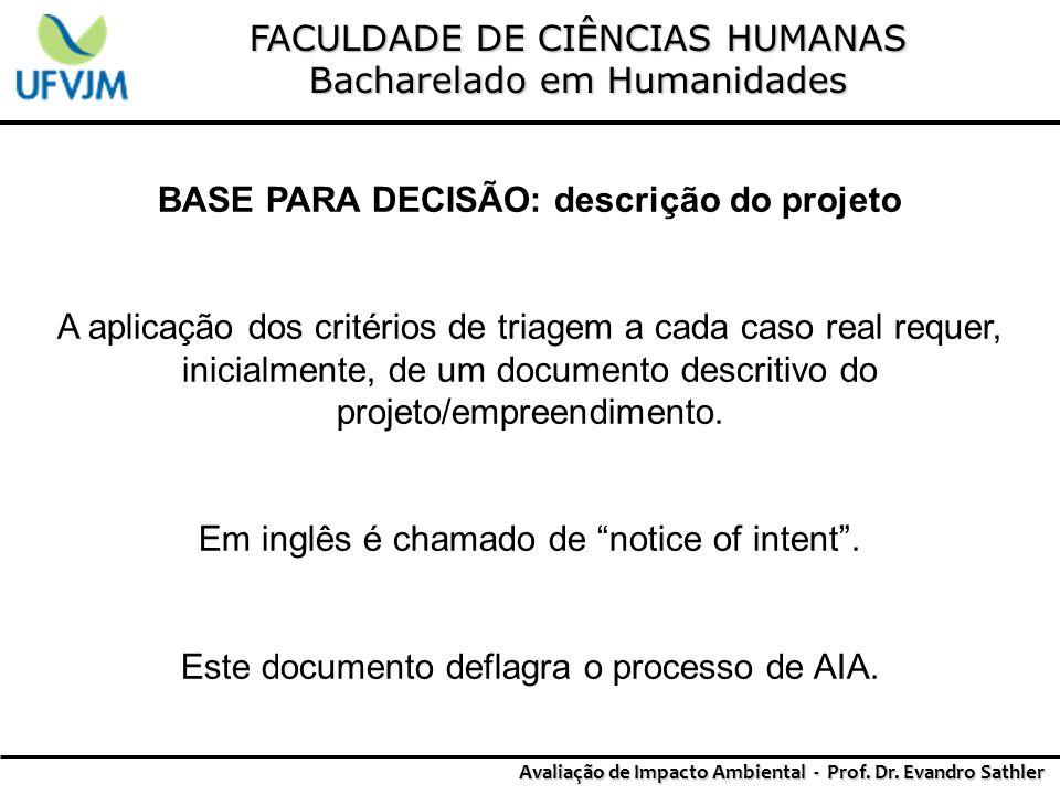 BASE PARA DECISÃO: descrição do projeto