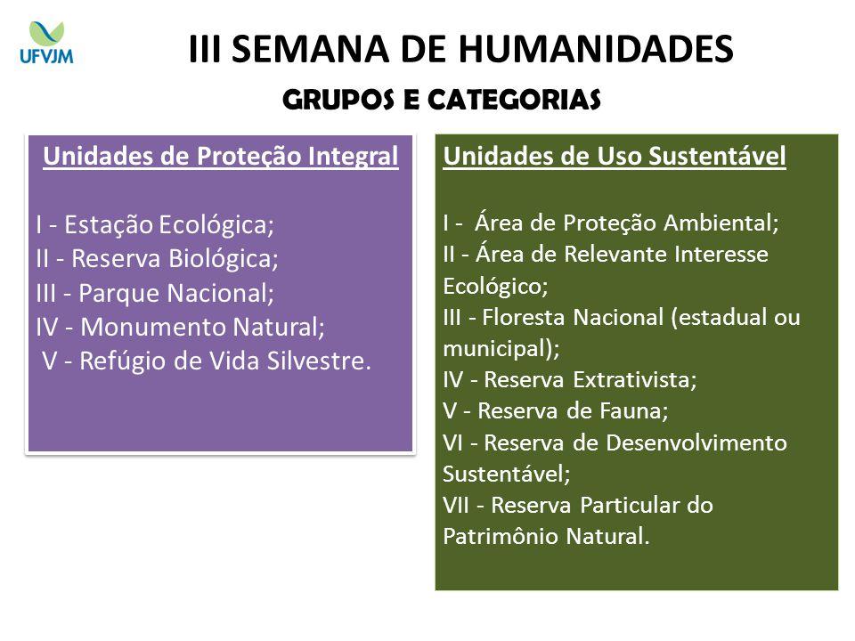 III SEMANA DE HUMANIDADES Unidades de Proteção Integral
