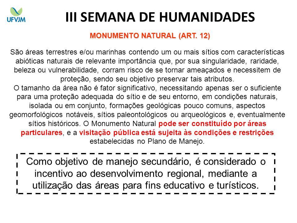III SEMANA DE HUMANIDADES MONUMENTO NATURAL (ART. 12)