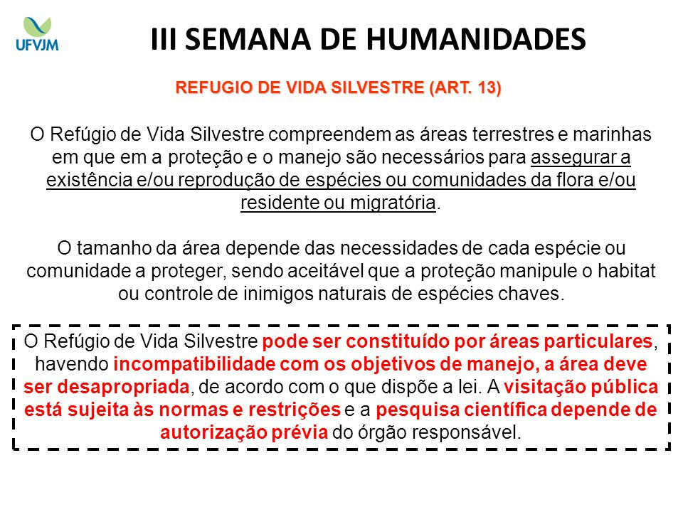 III SEMANA DE HUMANIDADES REFUGIO DE VIDA SILVESTRE (ART. 13)