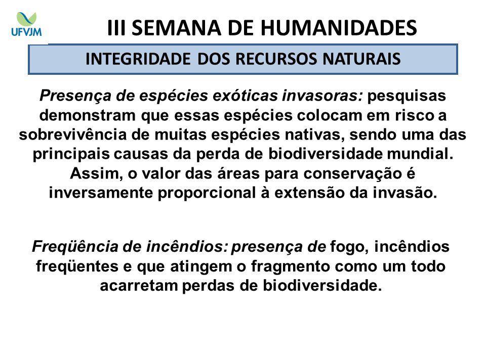 III SEMANA DE HUMANIDADES INTEGRIDADE DOS RECURSOS NATURAIS
