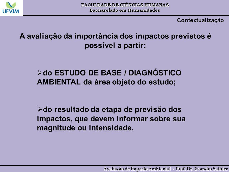 A avaliação da importância dos impactos previstos é possível a partir: