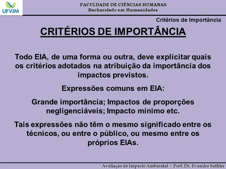 CRITÉRIOS DE IMPORTÂNCIA