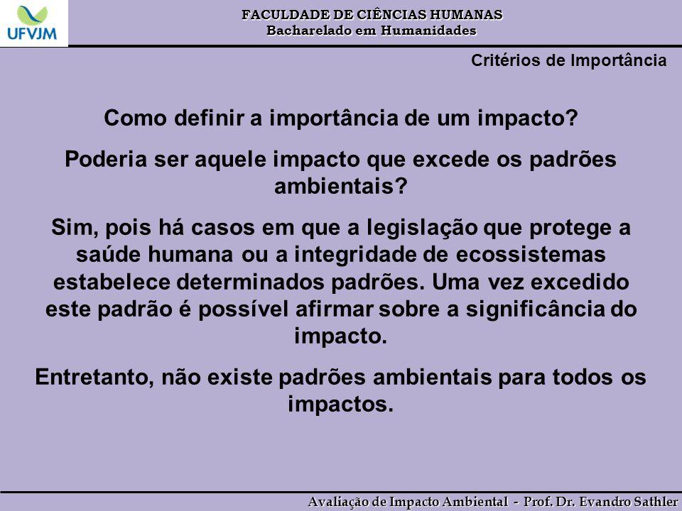 Como definir a importância de um impacto