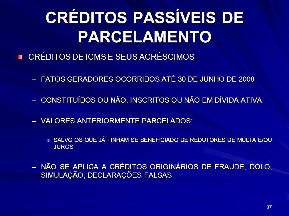 CRÉDITOS PASSÍVEIS DE PARCELAMENTO