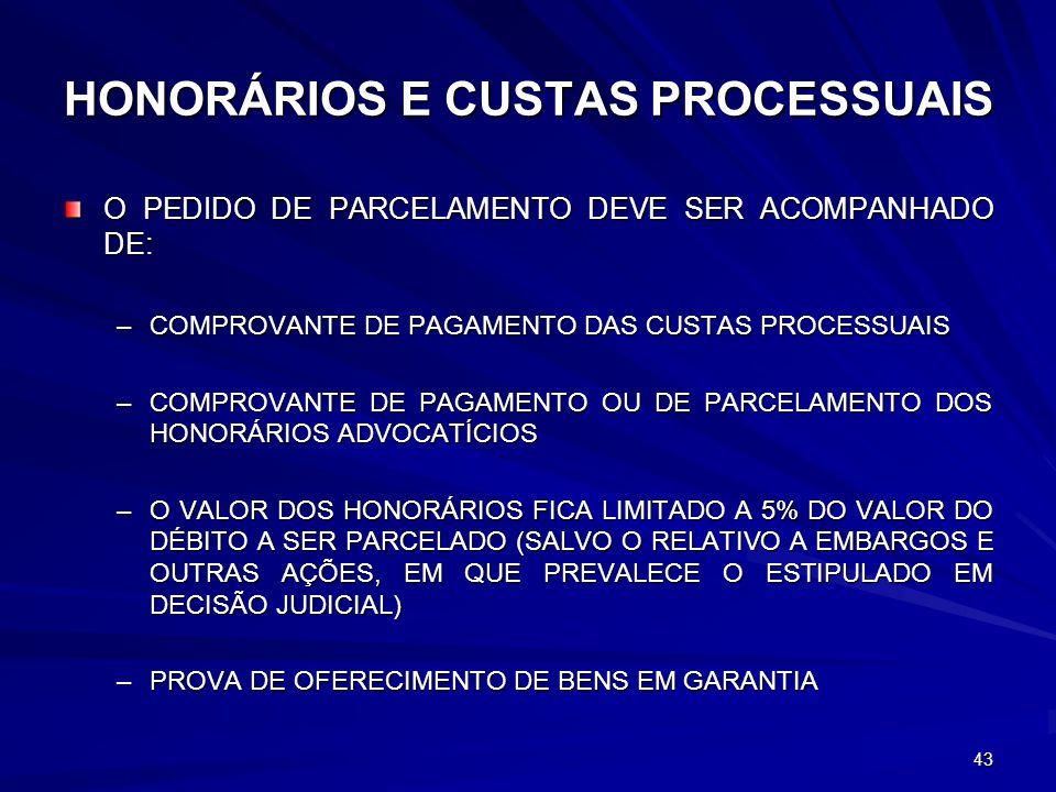 HONORÁRIOS E CUSTAS PROCESSUAIS