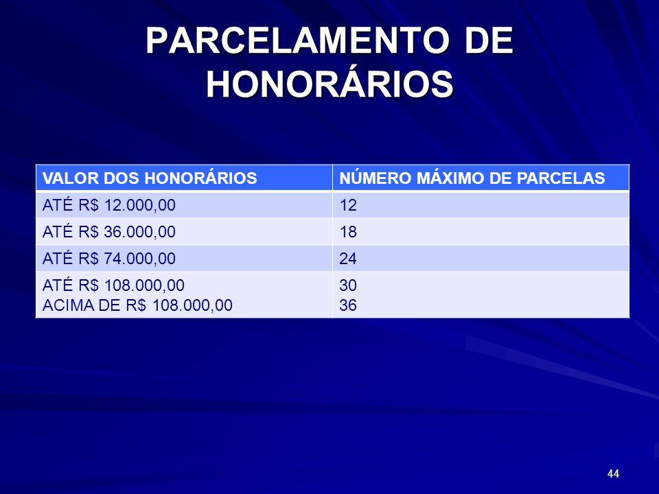 PARCELAMENTO DE HONORÁRIOS